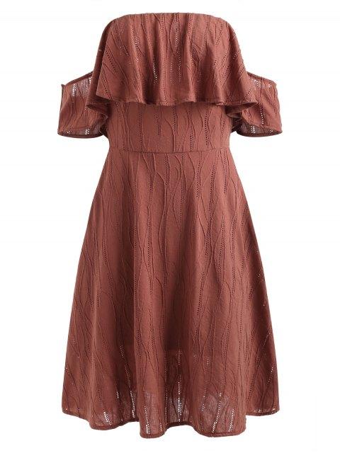 best Off Shoulder Flounce Hem Dress - CHERRY RED M Mobile