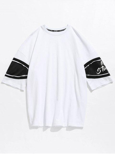 new Casual Drop Shoulder Net Insert Tee - WHITE M Mobile