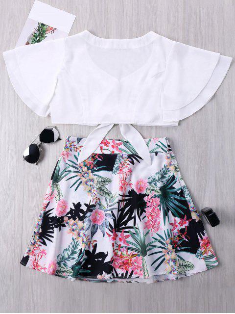 Minifalda estampada y estampado floral - Colores Mezclados M Mobile