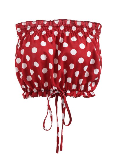 Polka Dot Ruffles Strapless Top - Red S