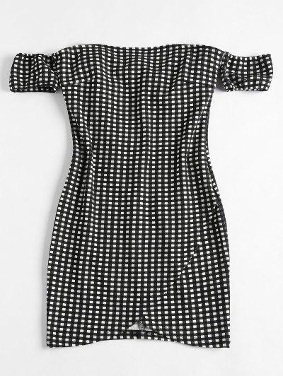 Off Shoulder Mini Plaid Dress - Black Xl