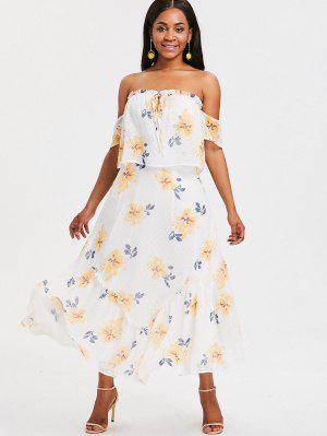 Vestido Floral Off Shoulder Maxi - Branco S