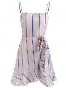 فستان كامي مخطط كشكش - وردي فاتح M
