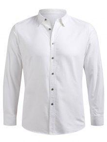 زر حتى كم طويل القميص - أبيض Xl