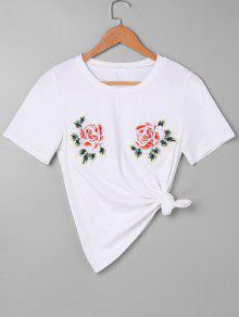Rose Camiseta Bordada Rose L Blanco Bordada rwH6qr