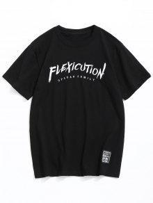 Corta Con Negro Manga L De Bordada Camiseta Letras aqntU1aw