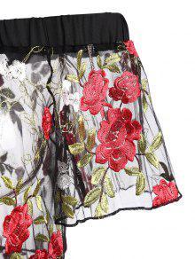 Bordada De Hombro S Floral Malla Vestido Del Negro 4RawBvBZW