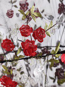 Hombro Bordada Negro Del Floral De Vestido S Malla gEnqXYa
