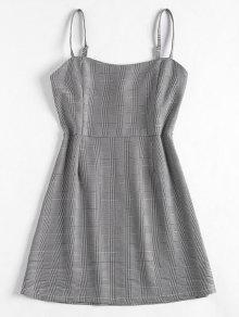 فستان عالية الخصر منقوش كامي - أسود L