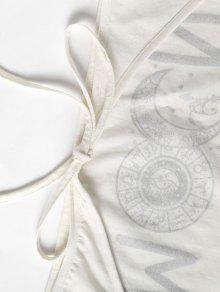 Mangas S Blanco Camiseta Anudada Sin fqw00B