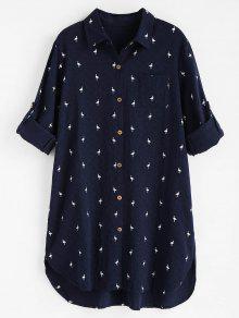 فستان بجيب عالية انخفاض طباعة - منتصف الليل الأزرق