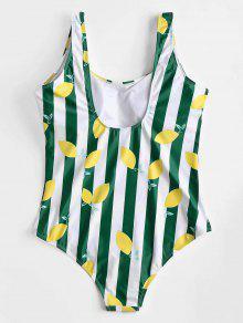 Swimsuit Backless Lemon Traje 1x o Backless Pattern Ba Verde De vABBW0p4c