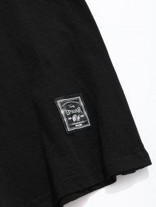 De Con Negro M Lema Camiseta De Estampado Letras 243;n Algod xIqwAS