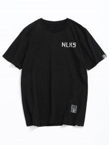 Lema Con 243;n De Estampado Algod De Camiseta Negro M Letras SPWAn7x