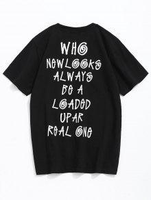 Letras Lema Algod Estampado De 243;n M Negro Con De Camiseta tRw4U4