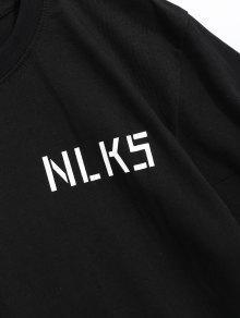 De De Negro Algod Con 243;n Camiseta Estampado Lema M Letras PqwpnCTxE