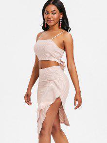 Top Naranja And Ruffle Cami Striped S Skirt 5Swqa6xZ