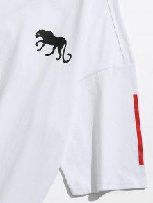 Estampada Estampado Con 237;dos M Blanco De Ca Camiseta Hombros f4AqPwq