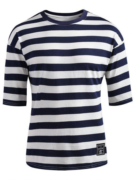 fancy Drop Shoulder Striped T-shirt - DARK SLATE BLUE L