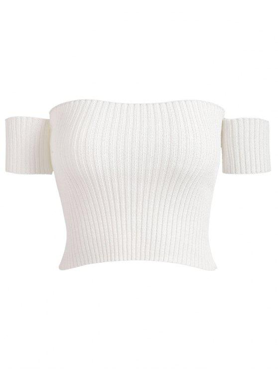 unique Off Shoulder Ribbed Tee - WHITE ONE SIZE