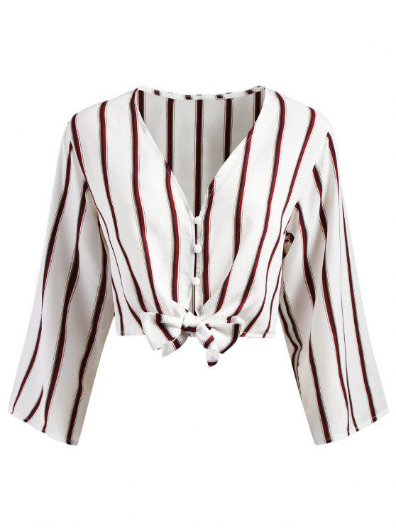 Button Up Stripes Cropped Top - Branco M
