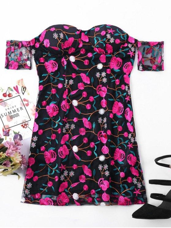 shops Embroidered Overlay Off Shoulder Dress - BLACK L