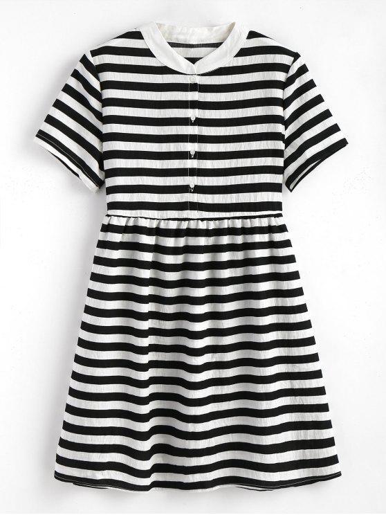 فستان مخطط بنصف الزر مصغر - أسود حجم واحد