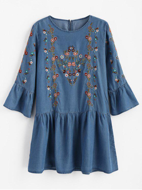 فستان مصغر مطرز بالأزهار كشكش - ازرق M