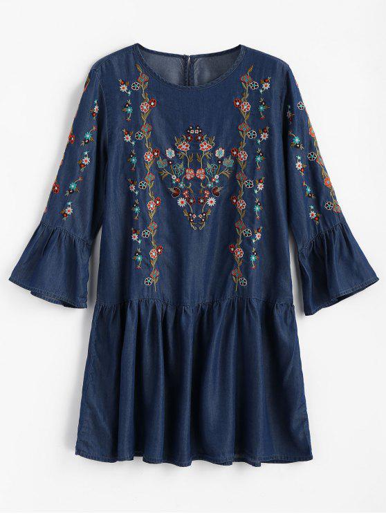 Mini vestido de volantes bordados florales - Azul Oscuro de Denim M