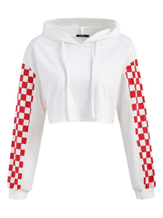 fashion Cropped Contrast Square Hoodie - WHITE L