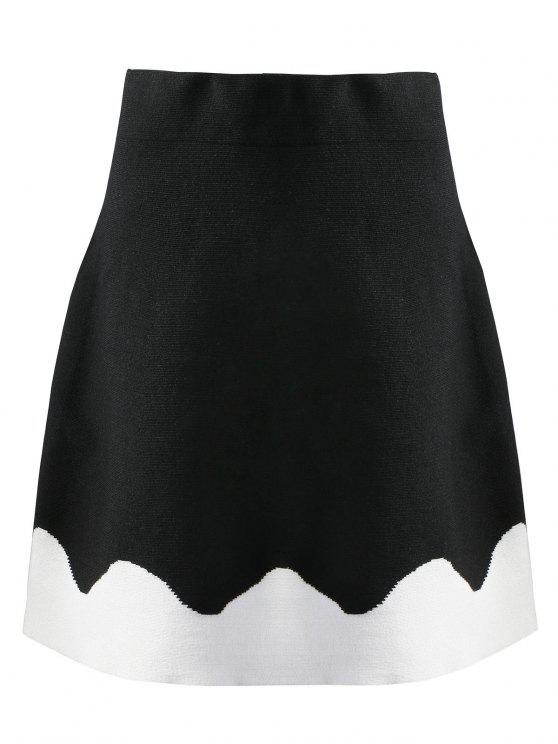 latest Knitted Two Tone A Line Skirt - BLACK M
