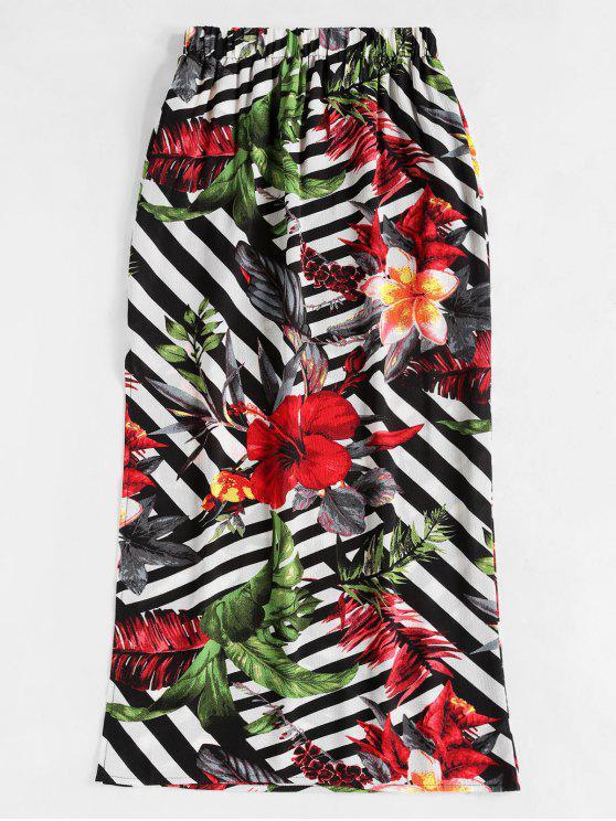 sale Floral Print Slit Maxi Skirt - MULTI-A M