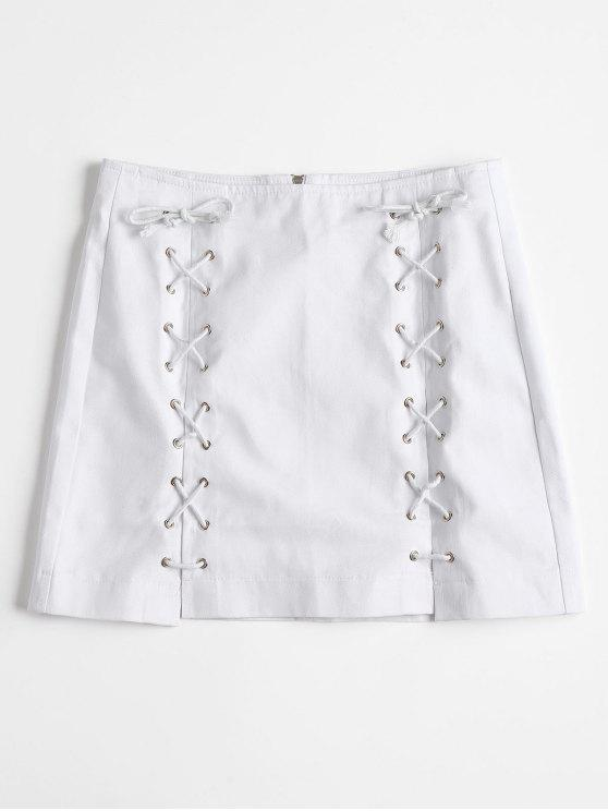affordable Back Zipper Lace Up Jean Skirt - WHITE L