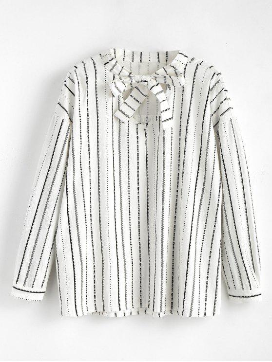 best Long Sleeve Striped Bowtie Blouse - WHITE ONE SIZE