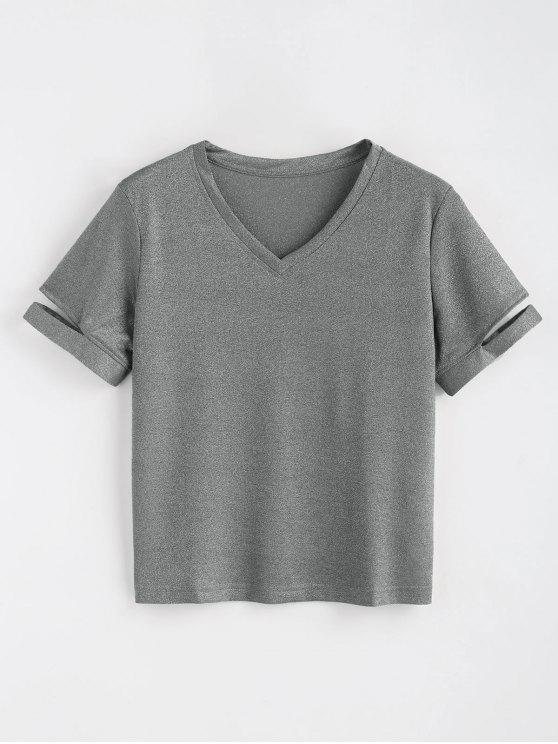 unique Shiny Cutout Top - GRAY S
