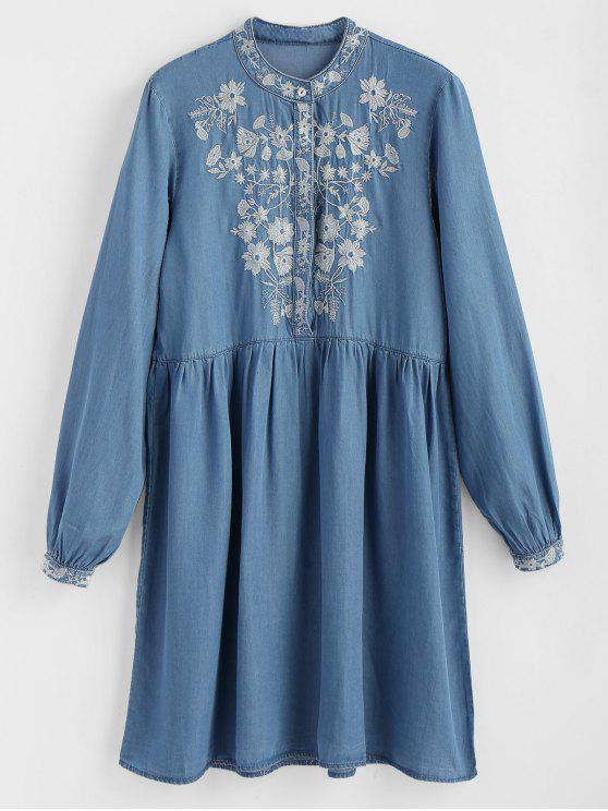 ladies Half Buttoned Embroidered Shift Dress - DENIM BLUE S