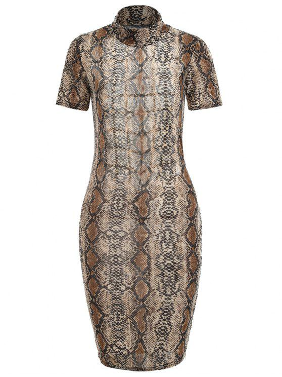 fancy Snakeskin Print Cut Out Dress - COFFEE L