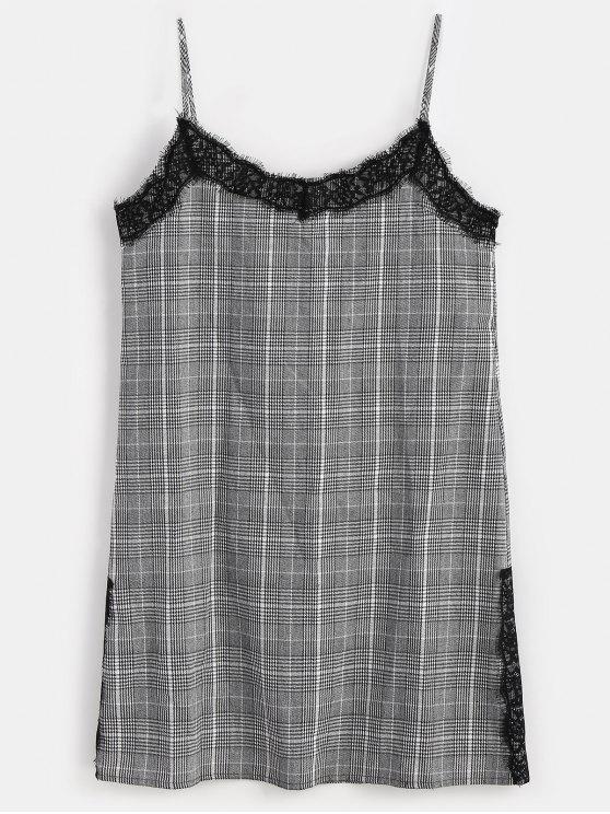 فستان كامي دانتيل منقوش - أسود S
