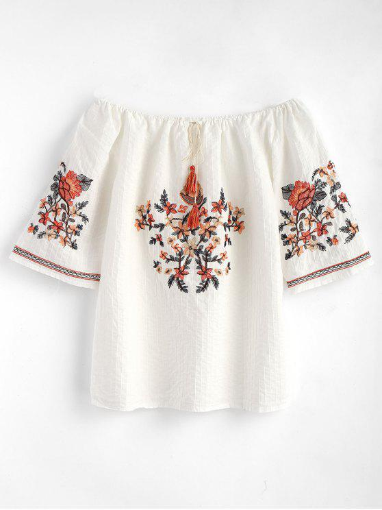 buy Floral Embroidered Off Shoulder Blouse - WHITE ONE SIZE