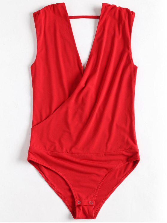 women Sleeveless Crossover Bodysuit - LOVE RED L