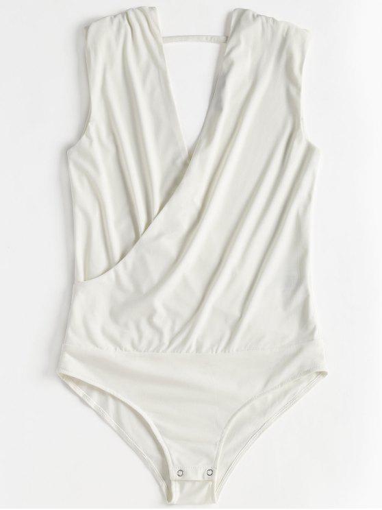 Ärmelloser Kreuz Bodysuit - Weiß M