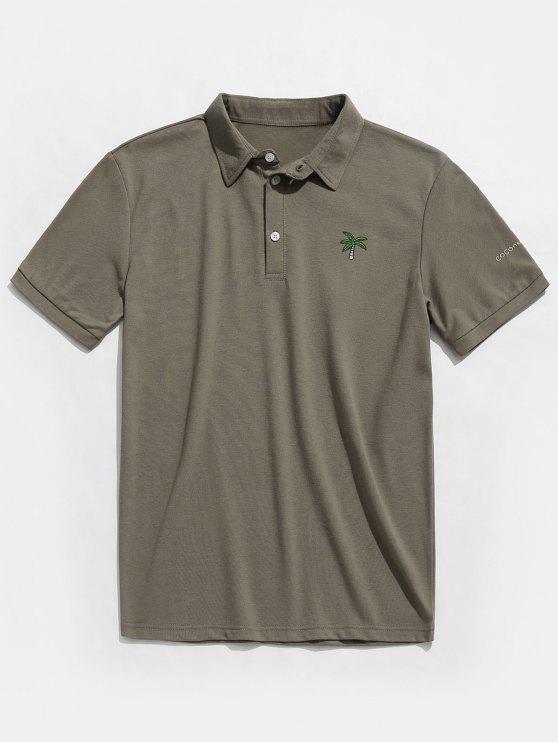 T-Shirt Polo Con Maniche Corte E Stampa A Albero Di Cocco - Turchese Grigiastro M