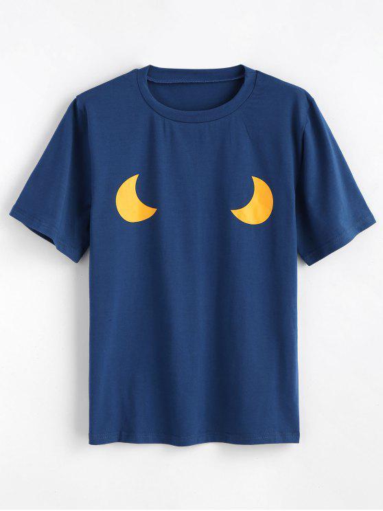 Niedliches Mond Grafik T-Shirt - Blauer Häher S