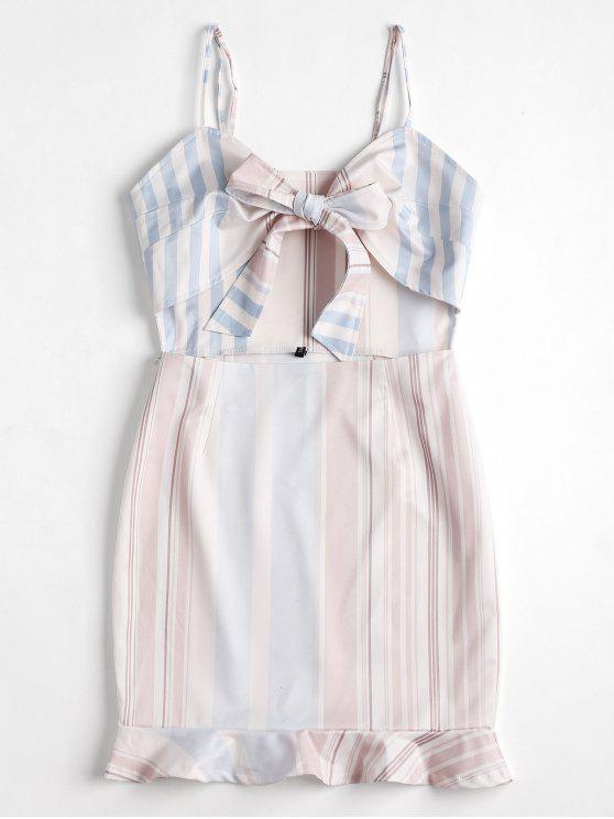 فستان مصغر ربطة مخطط ذو فتحات - أبيض XL