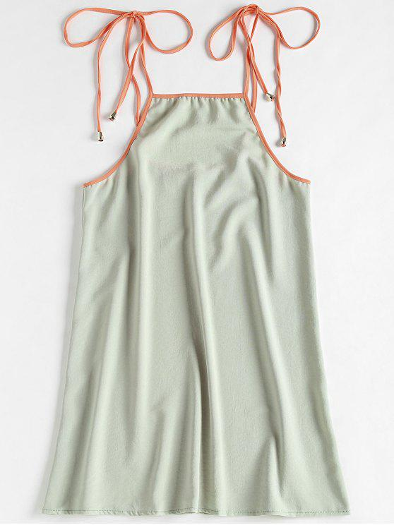 unique Contrasting Knotted Slip Dress - GREEN THUMB XL