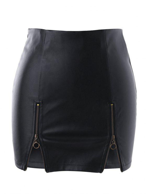 shops Zippers PU Skirt - BLACK XL