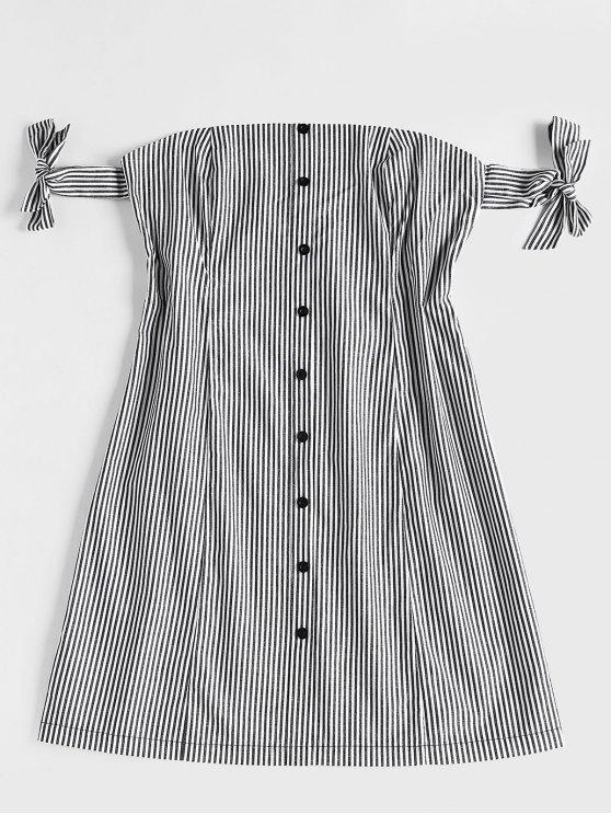 Mini vestido fora do ombro listrado - Preto L