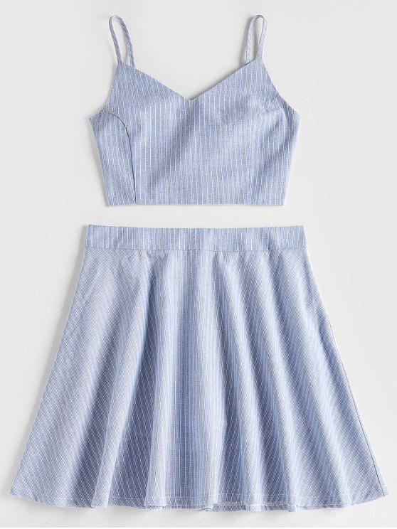 Smocked Back Stripes Top and Skirt Set - ازرق رمادي L
