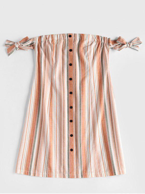 Gebundenes Schulterfreie Kleid mit Knöpfen - Rosa Kaugummi XL