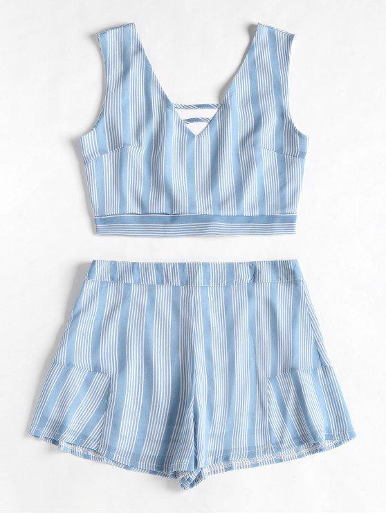 womens Open Back Striped Top and Ruffles Shorts Set - COLUMBIA BLUE L